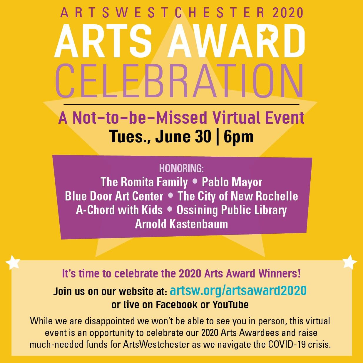 Arts Westchester Award Announcement Graphic