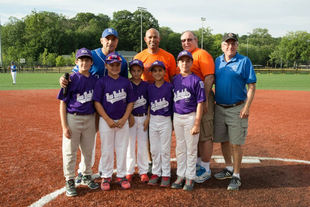 Top Left to Right: Radio Personality Craig Carton, Former Yankee Mariano Rivera,  Celebrity Softball Coach Harold Crocker, Parks and Recreation Supervisor Frank Bernabei